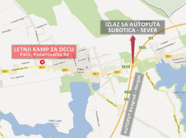 Letnji kamp Palić - Mapa